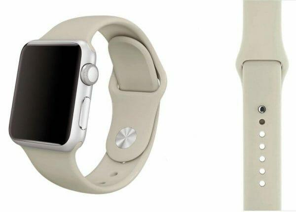 Apple watch bandjes - Apple watch rubberen sport bandje - antique white
