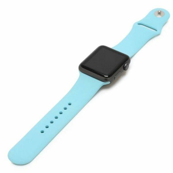Apple watch bandjes - Apple watch rubberen sport bandje - turquoise.-009
