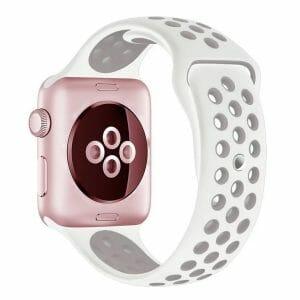 Rubberen sport bandje voor de Apple Watch Wit Lavendel-001