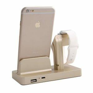 2 in 1 Apple Watch Standaard goud-002