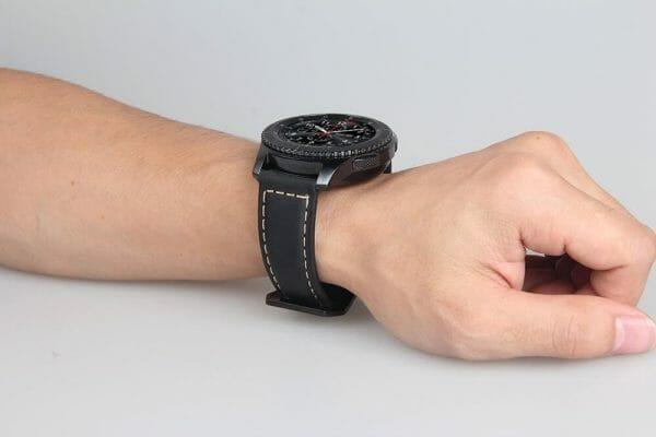 Leren Bandje Voor de Samsung Gear S3 Classic -Frontier-zwart-004