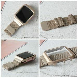 2 in 1 vervangend Apple Watch Band Milanese Loop goud en cover roestvrij staal vervangende band-003