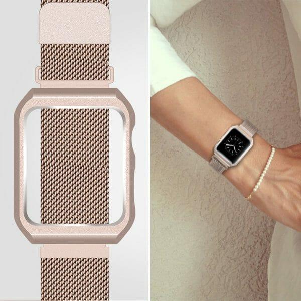 2 in 1 vervangend Apple Watch Band Milanese Loop goud en cover roestvrij staal vervangende band-008