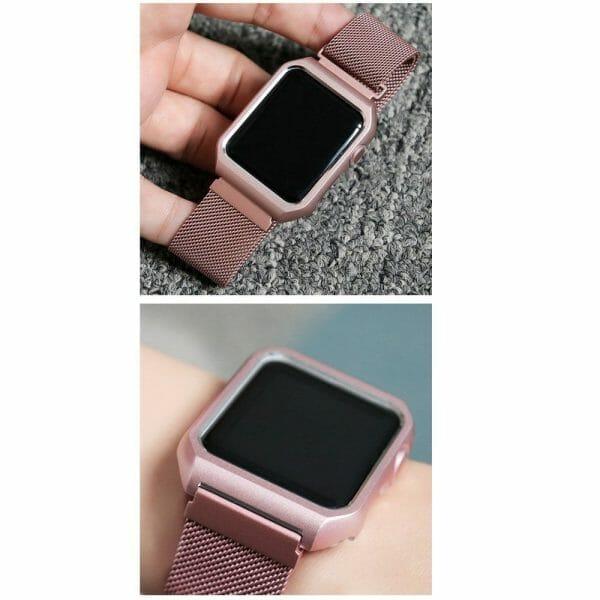 2 in 1 vervangend Apple Watch Band Milanese Loop rose rose goud en cover-001
