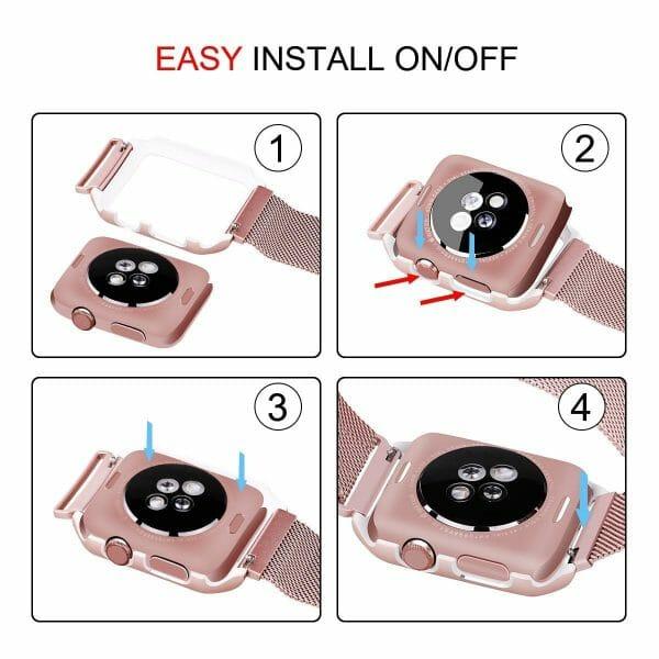2 in 1 vervangend Apple Watch Band Milanese Loop rose rose goud en cover-002