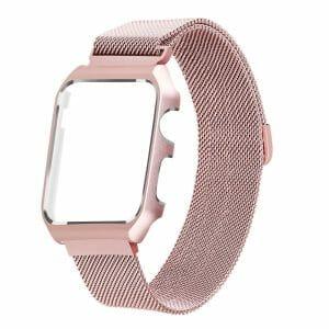 2 in 1 vervangend Apple Watch Band Milanese Loop rose rose goud en cover-003