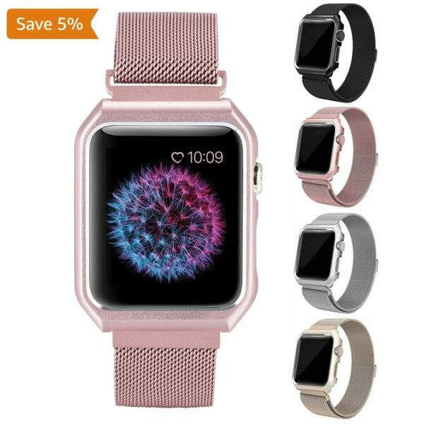 2 in 1 vervangend Apple Watch Band Milanese Loop rose rose goud en cover-004