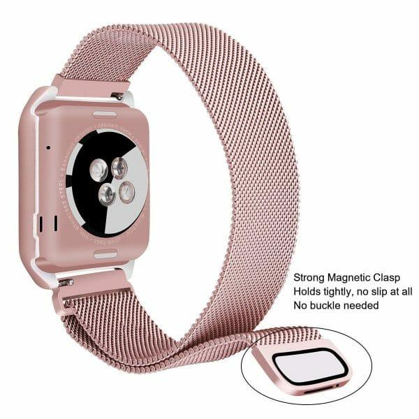 2 in 1 vervangend Apple Watch Band Milanese Loop rose rose goud en cover-005