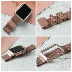 2 in 1 vervangend Apple Watch Band Milanese Loop rose rose goud en cover-006