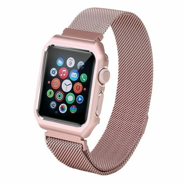 2 in 1 vervangend Apple Watch Band Milanese Loop rose rose goud en cover-007