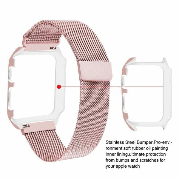 2 in 1 vervangend Apple Watch Band Milanese Loop rose rose goud en cover-008