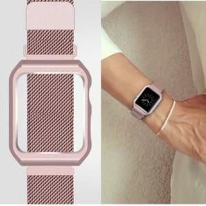 2 in 1 vervangend Apple Watch Band Milanese Loop rose rose goud en cover-010