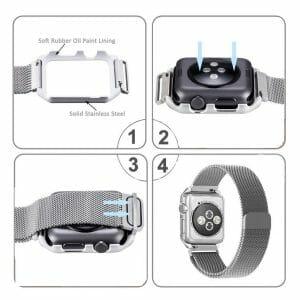 2 in 1 vervangend Apple Watch Band Milanese Loop zilver en cover roestvrij staal vervangende band voor iWatch-004