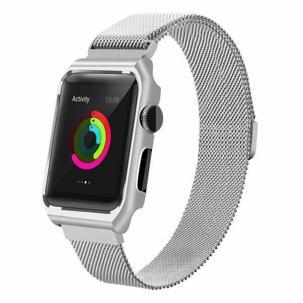 2 in 1 vervangend Apple Watch Band Milanese Loop zilver en cover roestvrij staal vervangende band voor iWatch-008