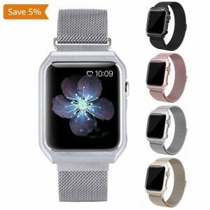 2 in 1 vervangend Apple Watch Band Milanese Loop zilver en cover roestvrij staal vervangende band voor iWatch-010