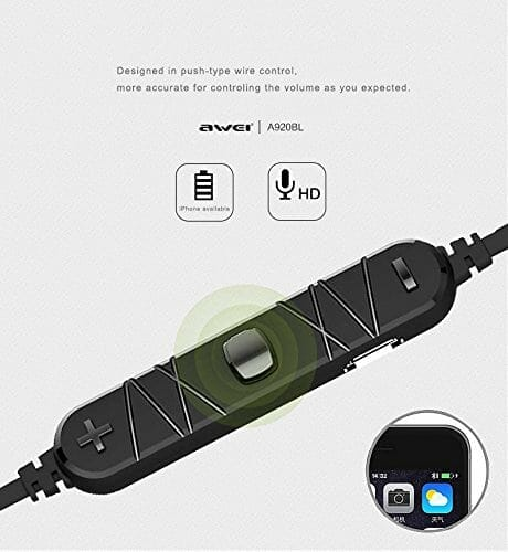 Awei A920BL Wireless Bluetooth 4.1 Sport Stereo Earphone - Goud In-ear oordopjes koptelefoon-001