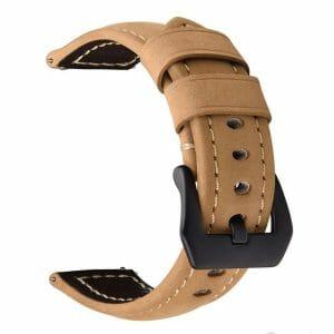 Leren Bandje Voor de Samsung Gear S3 Classic Frontier Camel zwarte sluiting-001