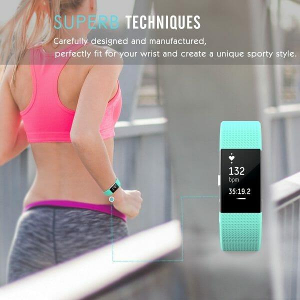Luxe Siliconen Bandje voor FitBit Charge 2 – mint-005