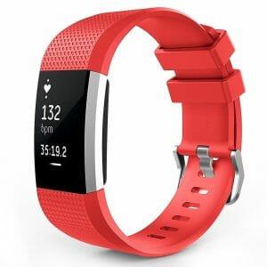 Luxe Siliconen Bandje voor FitBit Charge 2 – rood-003