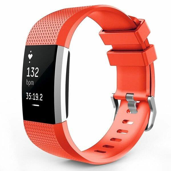 Luxe Siliconen Bandje voor FitBit Charge 2 – rood oranje-004