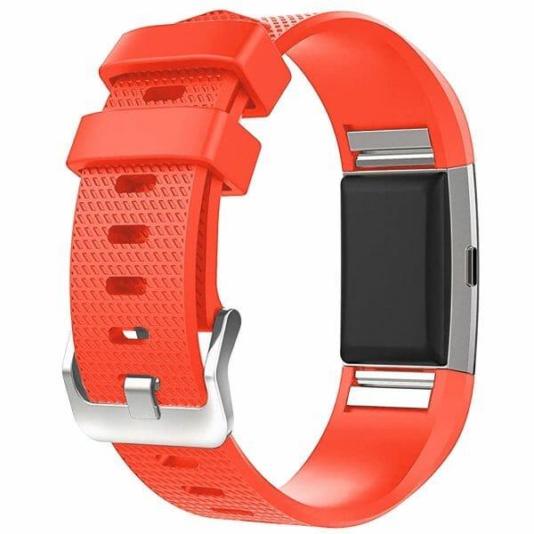 Luxe Siliconen Bandje voor FitBit Charge 2 – rood oranje