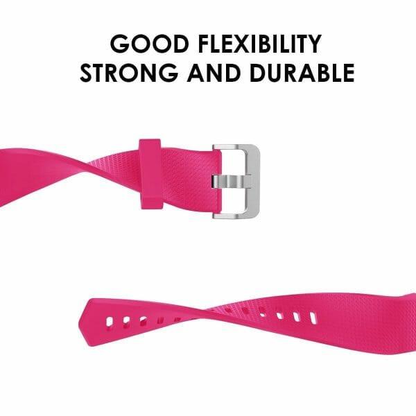 Luxe Siliconen Bandje voor FitBit Charge 2 – roze rood-001