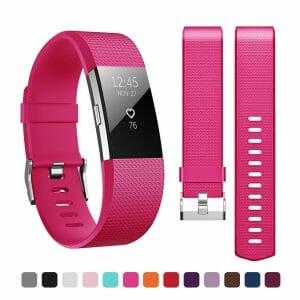 Luxe Siliconen Bandje voor FitBit Charge 2 – roze rood-004