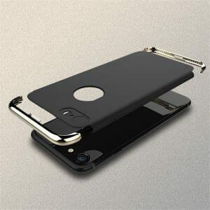 3 in 1 luxe zwarte telefoonhoesje voor iPhone 7 Ultradunne TPU beschermhoes