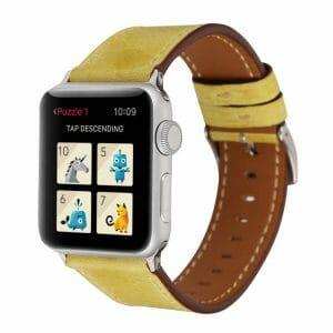 Lederen bandje geel met klassieke gesp voor Apple Watch 42mm vervangende horlogeband voor Iwatch Series -004