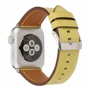 Lederen bandje geel met klassieke gesp voor Apple Watch 42mm vervangende horlogeband voor Iwatch Series 322