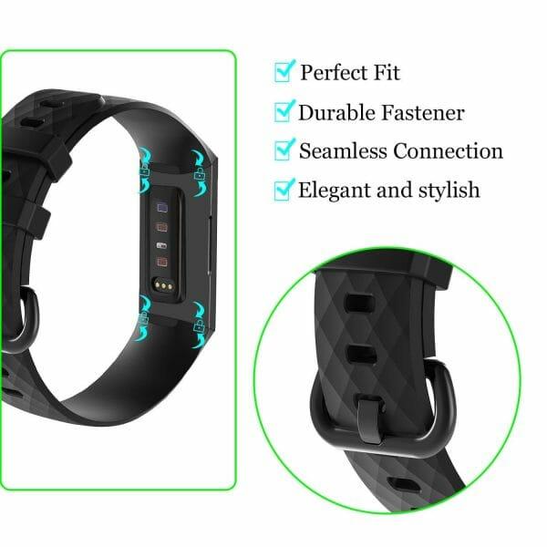 Bandje geschikt voor Fitbit Charge 3 SMALL – zwart_007