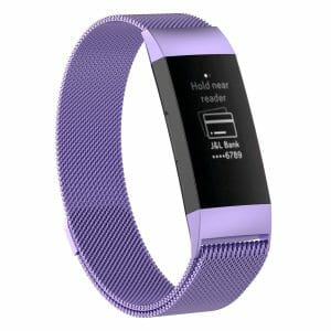 RVS paars kleurig metalen milanese loop bandje armband voor de Fitbit Charge 3_002