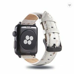 Struisvogel leren bandje met klassieke gesp voor Apple Watch 38mm 40mm 42mm 44mm Iwatch Series 1234-1001
