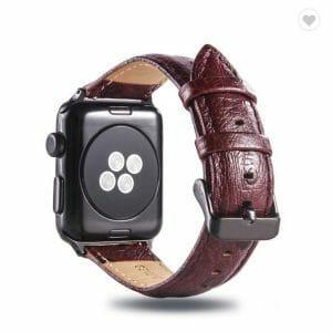 Struisvogel leren bandje met klassieke gesp voor Apple Watch 38mm 40mm 42mm 44mm Iwatch Series 1234-1004