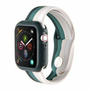 Apple watch 4 en 5 bandje 38mm - 40mm small siliconen groen - grijs -wit_001