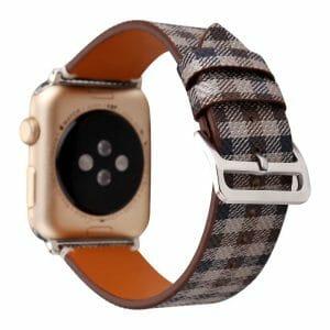 Apple Watch leren bandje Lattice met klassieke zilverkleurige gesp 38mm-40mm beige - blauw - bruin_002