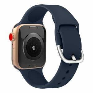 Apple watch bandje silicone met D sluiting 42mm-44mm donkerblauw_006