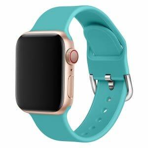 Apple watch bandje silicone met D sluiting 42mm-44mm mint_005