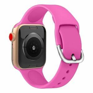Apple watch bandje silicone met D sluiting 42mm-44mm roze_006