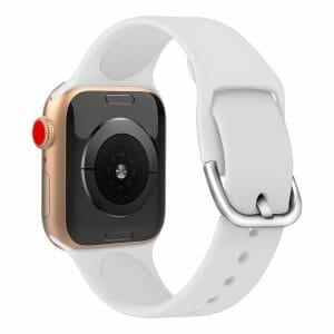 Apple watch bandje silicone met D sluiting 42mm-44mm wit_001